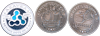 Three challenge coins showing the back and